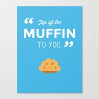 seinfeld Canvas Prints featuring Seinfeld - Muffin by Daniel Mester