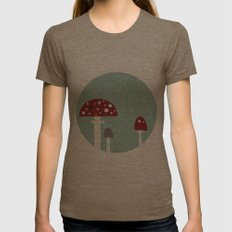 mushrooms Womens Fitted Tee Tri-Coffee SMALL