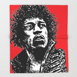 Jimi Hendrix Pop-Art (Red) Throw Blanket