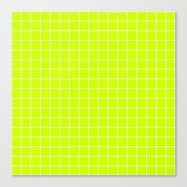 Volt - green color - White Lines Grid Pattern Canvas Print