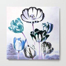 Blue Teal Tulips : Temple of Flora Metal Print