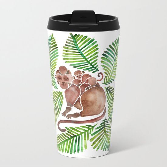 Monkey Cuddles – Tropical Green Metal Travel Mug
