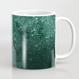 Green deep forest faux glitter ombre on green watercolor Coffee Mug