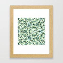 Green petal kaleidoscope  Framed Art Print