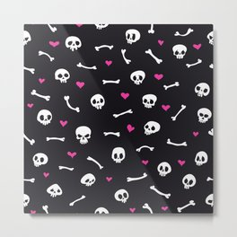 Cartoon Skulls with Hearts on Black Background Seamless Pattern Metal Print