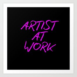 Artist at Work (pink) Art Print