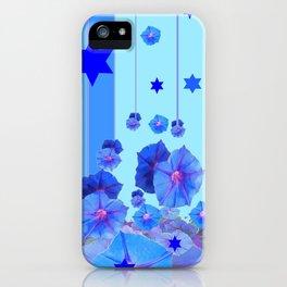 STARS & BLUE MORNING GLORIES RAIN POP ART iPhone Case