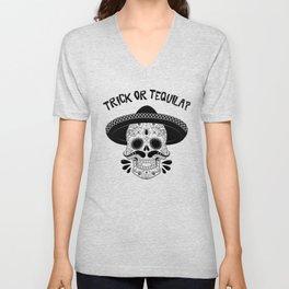Trick or Tequila Halloween Sugar Skull Vampire Unisex V-Neck