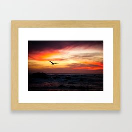 Solo Heron in the Sunset Framed Art Print