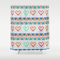 knit Shower Curtains featuring Heart Knit  by minniemorrisart