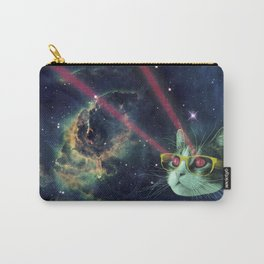 Laser cat with glasses in space Carry-All Pouch