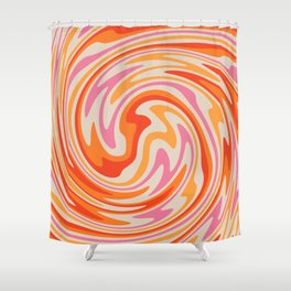 70s Retro Swirl Color Abstract Shower Curtain