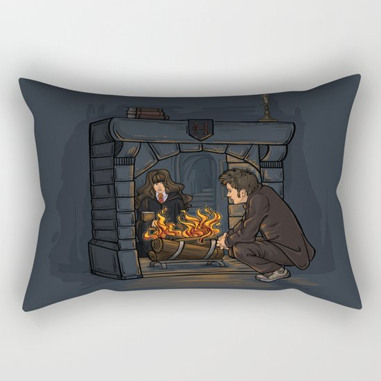 The Witch in the Fireplace Rectangular Pillow
