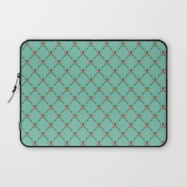 Stylized Butterfly Pattern // Geometric Butterfly // Mint Green and Mustard Yellow Laptop Sleeve