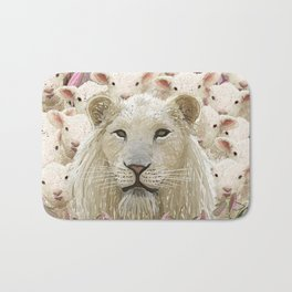 Lambs led by a lion Bath Mat