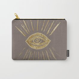 Evil Eye Gold on Brown #1 #drawing #decor #art #society6 Carry-All Pouch