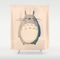 nan lawson Shower Curtains featuring My Neighbor by Nan Lawson