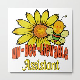 Unbelievable Assistant  Sunflowers and Bees Metal Print