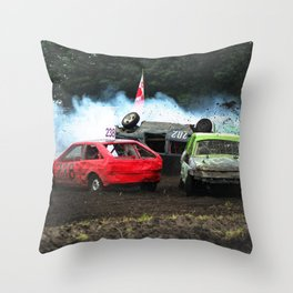 Race rollover in Stockcar Throw Pillow