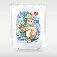 kaiju Shower Curtains featuring Kaiju Hug by Super Group Hugs