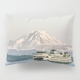 Seattle Bainbridge Island Ferry with Mount Rainier Pillow Sham