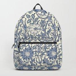 William Morris Navy Blue Botanical Pattern 6 Backpack