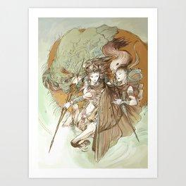 Ancient Centaur War Goddess Art Print