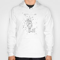 nasa Hoodies featuring NASA Space Suit Patent - White on Black by Elegant Chaos Gallery