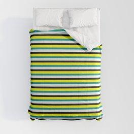Vibrant Dark Cyan, Mint Cream, Black, and Yellow Striped Pattern Comforters