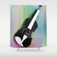 violin Shower Curtains featuring Violin by Christine baessler