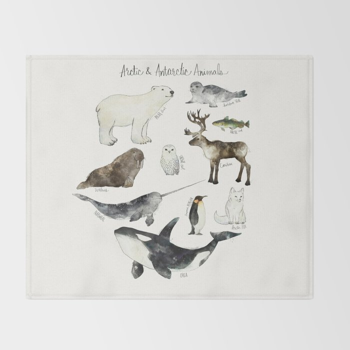 Arctic & Antarctic Animals Throw Blanket