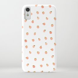 Sweet Peach Polka Dot, White iPhone Case