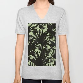 Modern black green abstract tropical leaves Unisex V-Neck