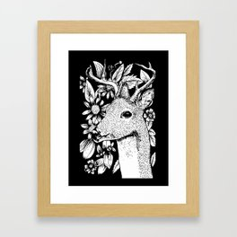 Deer over flowers Framed Art Print
