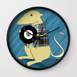 A 90s Record store day, or: a mouse in a classic grunge flennel shirt, with vinyl Wall Clock