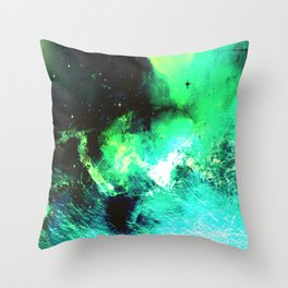 Green Nebula Throw Pillow