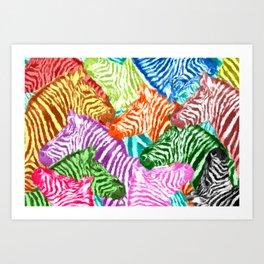 Beautiful colorful zebras africa wildlife background art Art Print