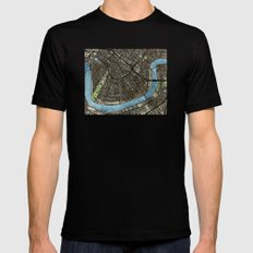 New Orleans City Map MEDIUM Black Mens Fitted Tee