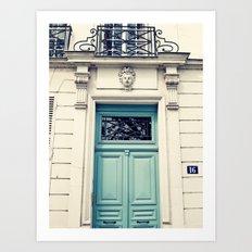 Paris door, pastel blue II Art Print