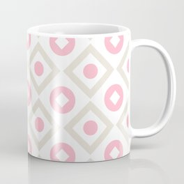 Pink pastel pattern of rhombuses and circles Coffee Mug