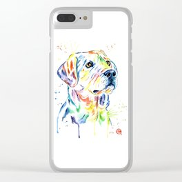 Yellow Lab Colorful Watercolor Painting - Puppy Star Clear iPhone Case