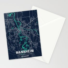 Mannheim Blue Dark Color City Map Stationery Cards
