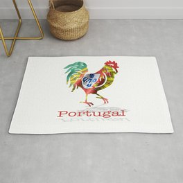 Portuguese waving flag shaped as a rooster on a white background.  Rug