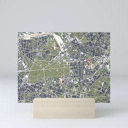 Berlin city map engraving Mini Art Print