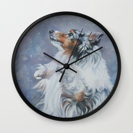 SHELTIE Shetland Sheepdog dog art from an original painting by L.A.Shepard Wall Clock
