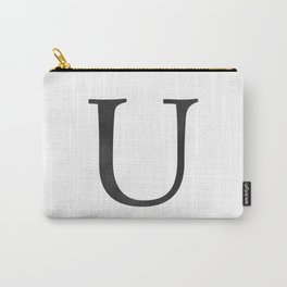 Letter U Initial Monogram Black and White Carry-All Pouch