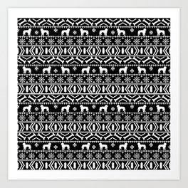 Golden Doodle fair isle christmas pet pattern minimal christmas sweater gifts Art Print