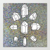 holographic Canvas Prints featuring holographic crystal collection by HiddenStash Art