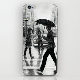 Untitled - Charcoal Drawing - people, figure drawing, rainy day, umbrella, silhouette, crowd, urban iPhone Skin