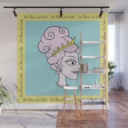 Let Them Eat Cake (blue with yellow border) by Blissikins  Wall Mural